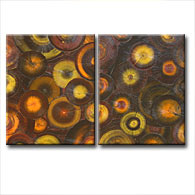 'BURNT ORANGE VENEER II' - Giclee Print on Canvas Art
